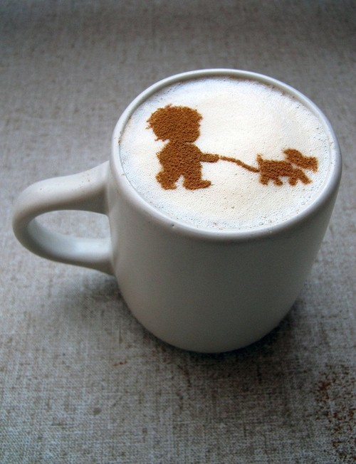 Cinnamon-coffee-art-boy-and-dog-walk