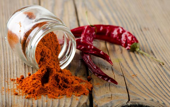 Red-pepper-spice-on-wooden-table