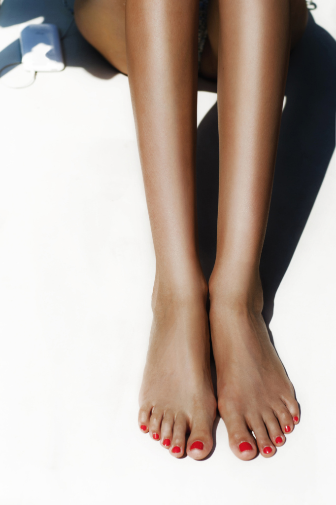 Female legs outdoors