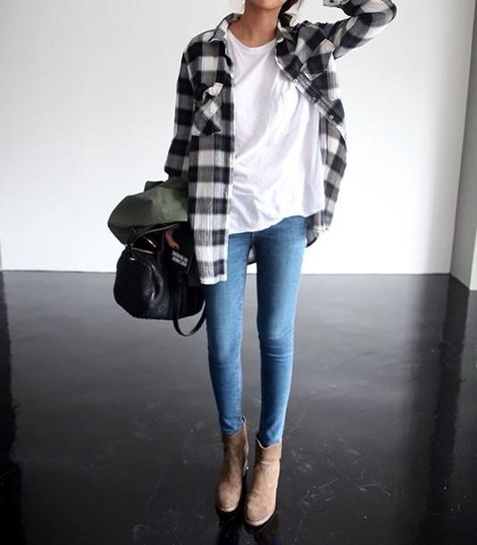 4db2hy-l-610x610-bag-plaid+shirt-white+tshirt-jeans-t+shirt-shirt-shoes-sweater-jacket-flannie-plaid-black+white-grunge-tile-purse-black-flannel-blackwhite-white+t+shirt-skinny+denim-skinny+jeans-p