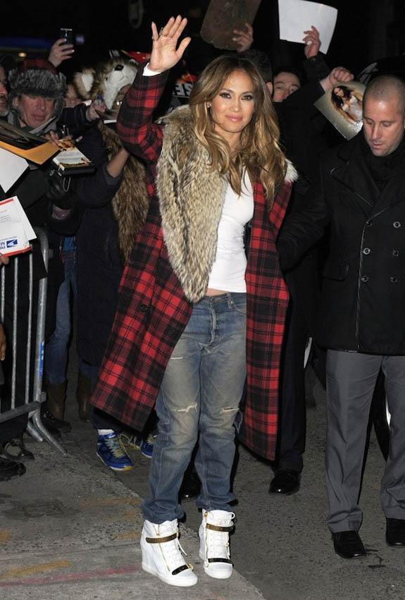 Jennifer-Lopez-wearing-Michael-Kors-Tartan-Plaid-Fur-Collar-Wool-Coat-and-Giuseppe-Zanotti-Wedge-Sneakers-2
