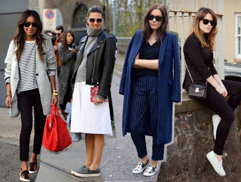 how to wear the trends ways to wear sneakers slip ons trainers fashion blog outfits 2014 spring