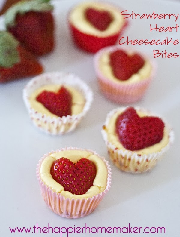 strawberry heart cheesecakes