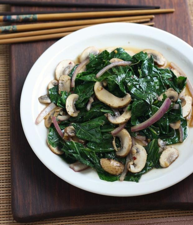 easy stir fried collard greens recipe with mushrooms