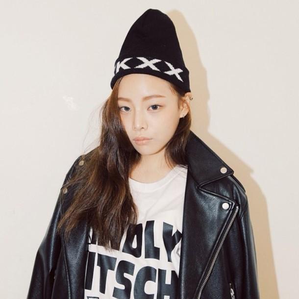 m6s7da-l-610x610-jacket-stylenanda-hat-leather-black-leather+jacket-shirt