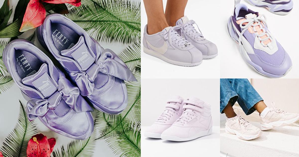 เทรนด์ฮิต! 10 รองเท้าผ้าใบสีม่วงลาเวนเดอร์ สำหรับสาวหวาน