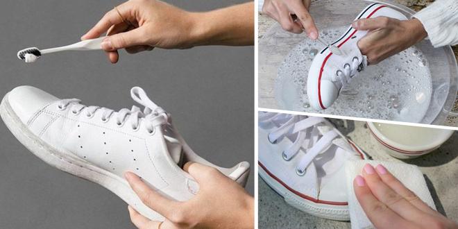 4 เทคนิคลับ! แก้รองเท้าผ้าใบเหลืองให้ขาวเหมือนใหม่ ด้วยงบหลักสิบ
