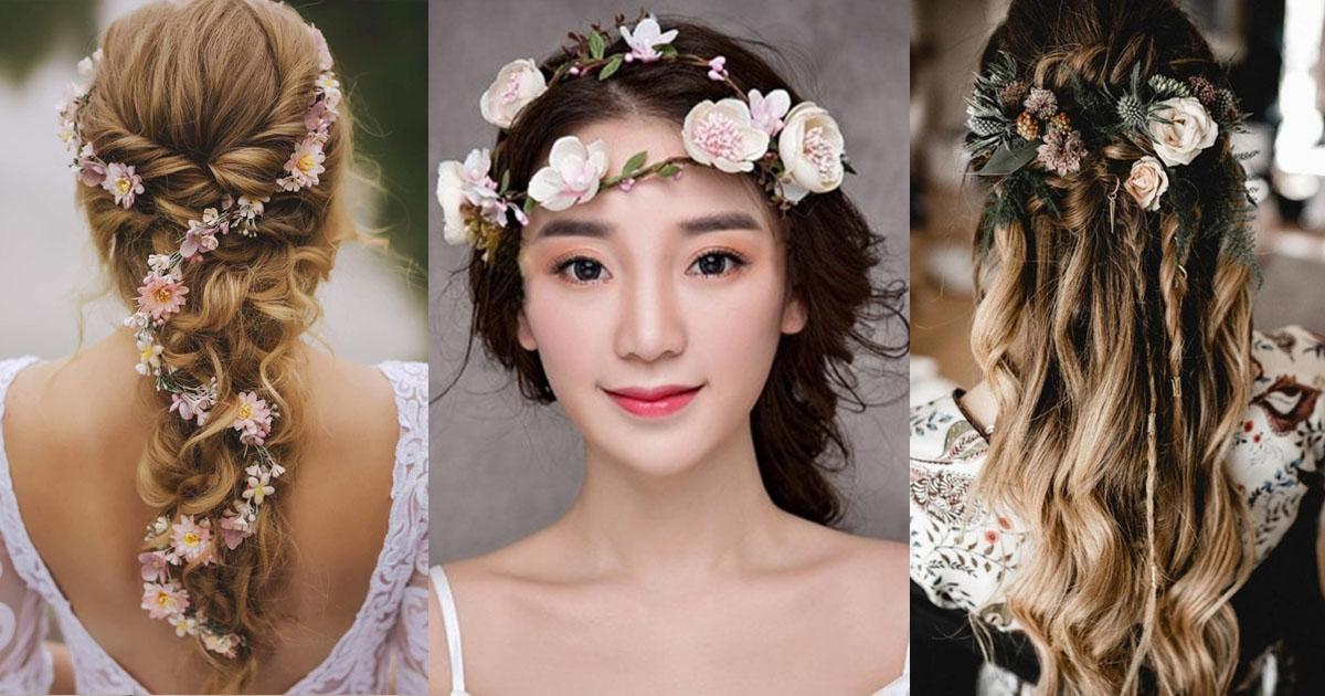 แต่งแล้วสวย! 25 ทรงผมเจ้าสาวสไตล์ Floral Bridal